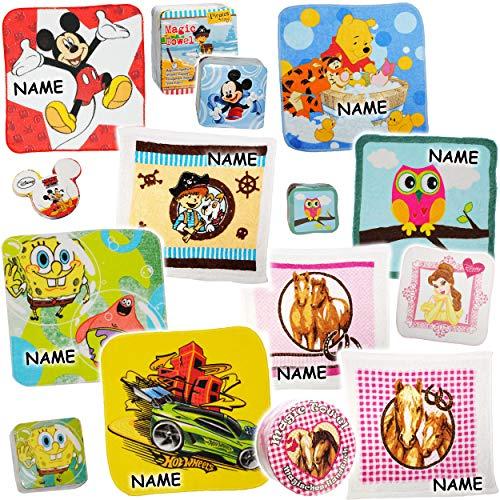alles-meine.de GmbH 10 Stück _ magische Handtücher / Waschlappen - Zauberwaschlappen -  Mädchen - Motiv-Mix  - inkl. Name - Frottee aus 100 % Baumwolle - Waschfleck - Waschtuch..
