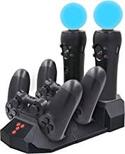 YOUSHARES Quad Charging Station for PS Move Motion and PS4 Controller of Sony Playstation 4 PS4 Slim PS4 Pro (Quad Charger)