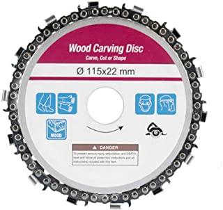 Eyech 4.5 inch Grinder Chain Disc Wood Carving Disc Circular Saw Blade and Chain 22 Tooth Fine Shaping Disc for 4-1/2 inch Angle Grinder