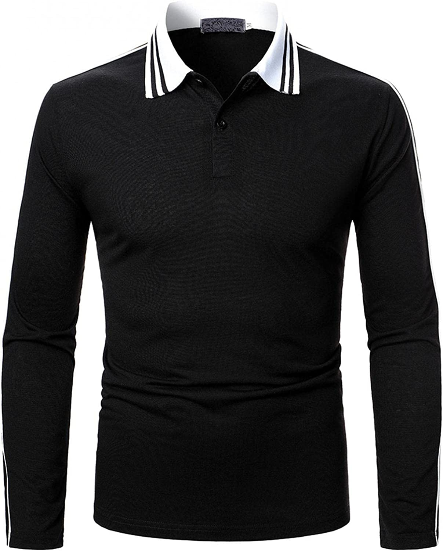 LEIYAN Mens Casual Polo Shirts Long Sleeve Slim Fit Quarter Zip/Button Colorblock Fashion Design Work Tee Shirts
