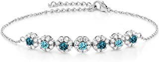 Gem Stone King 925 Sterling Silver 1.40 Ct London Blue Topaz Swiss Blue Topaz Tennis Bracelet