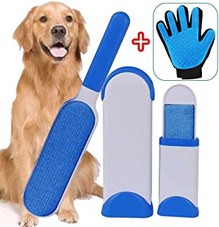 AIUKE Pet Hair Remover Brush Double Sided Dog Cat Hair Remover for Furniture Clothing Car Seat with Self-Cleaning Base