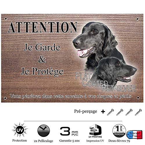 Pets-Easy.com Panneau Attention au Chien personnalisée Flat-Coated Retriever - pré percée et vis fournies. De 30 cm à 15 cm…
