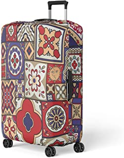 Semtomn Luggage Cover Blue Abstract Talavera Spanish Traditional Yellow Adha Azulejo Carpet Travel Suitcase Cover Protector Baggage Case Fits 26-28 Inch