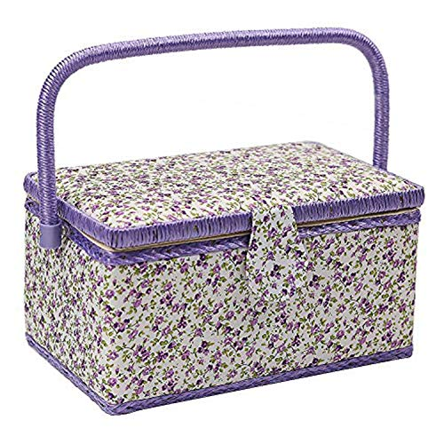 Medium Sewing Basket with Accessories Sewing Storage Box with Supplies DIY Sewing Kits for Adults/Kids (purple)
