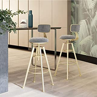 GYPPG Breakfast Kitchen Counter Bar Stools Set of 2 PCS Velvet Seat Bar Chairs Gold Metal Legs Barstools Grey High Stools