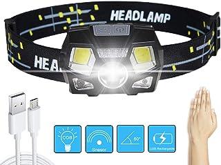GARDOM Linterna Frontal Recargable USB, Linterna Cabeza LED Brillante, 5 Modos de Iluminación, Sensor Inteligente, Angulos Ajustables, Impermeable para Ciclismo Correr Pescar Acampa Corriendor