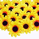 Supla 30 Pcs Artificial Sunflower Heads Faux Silk Yellow Flower Heads Daisy Heads for Fall Autumn Wedding Baby Shower Decor Sunflower Wreath Cake Hair Kissing Ball Floral Crafts