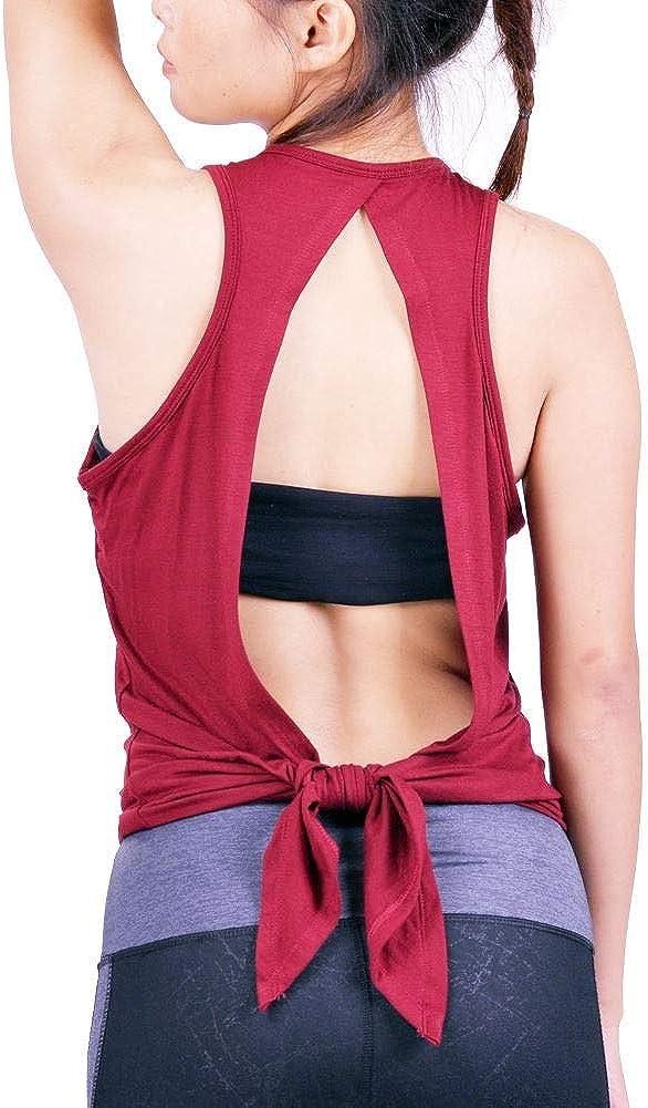 Lofbaz Mujer de Espalda Abierta Yoga Camiseta Atar la Rutina de Ejercicio Ropa Brasier de Espalda Cruzada Camiseta sin Mangas Parte Superior