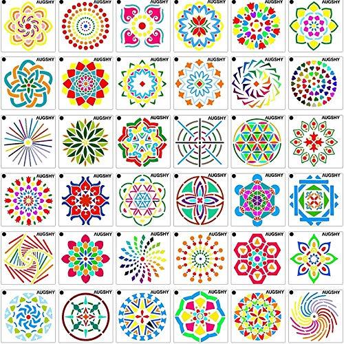 36 Pack Mandala Stip Schilderij sjablonen sjablonen Perfect voor DIY Rock Schilderkunst Projecten 9 * 9 cm