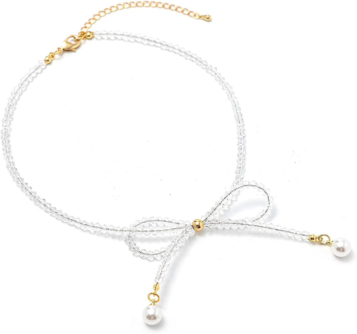 Crystal Bow Tie Choker Necklace Cute Personality Necklace