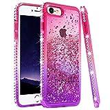 Ruky iPhone 6 6S 7 8 Glitter Case, iPhone SE 2020 Case, Gradient Quicksand Series Liquid Floating Bling Diamond Flexible TPU Girls Women Phone Case for iPhone 6/6s/7/8/SE 2020 4.7' (Pink Purple)