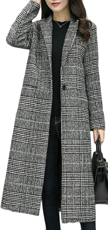 TDCACA Women One Blend Plaid Checked Wool Blend Jacket Overcoat