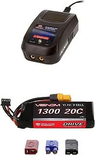 Venom 20C 3S 1300mAh 11.1V LiPo Battery with Universal Plug and Venom LiPo and NiMH AC Sport Balance Charger Money Saving Combo