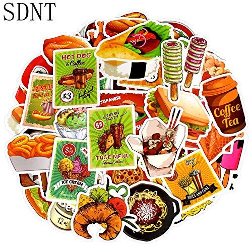 Drink Fast Food Stickers Heerlijke Dessert Bbq Dieet Creatieve Cartoon Stickers Speelgoed Om Diy Koelkast Bagage Auto Laptop 50 Stks