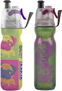 O2COOL Arctic Squeeze Insulated Mist 'N Sip Water Bottle   2 Pack- 20 oz   BPA Free, 2-in-1 Mist and Sip Function w/No Leak Pull Top Spout