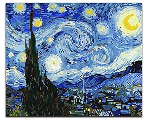 jjwka Pintura Al Óleo Pintura Digital De Vincent Van Gogh, DIY Painting, Starry Night, Abstract Print Art Image by Numbers and Colors-40X50 (Frameless)