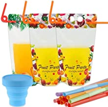 Kicpot 101 Pack Juice Pouches Disposable with Straws, Flamingo & Fruits Double Zipper Reusable Smoothie, Juice and Drink B...
