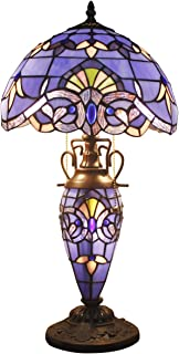 Stained Glass Lamp Blue Purple Baroque Tiffany Style Table Lamps 3 Light W12H22 Inch Lavender Lampshade Antique Base for Living Room Bedroom Bedside Desk Lamp S003C WERFACTORY