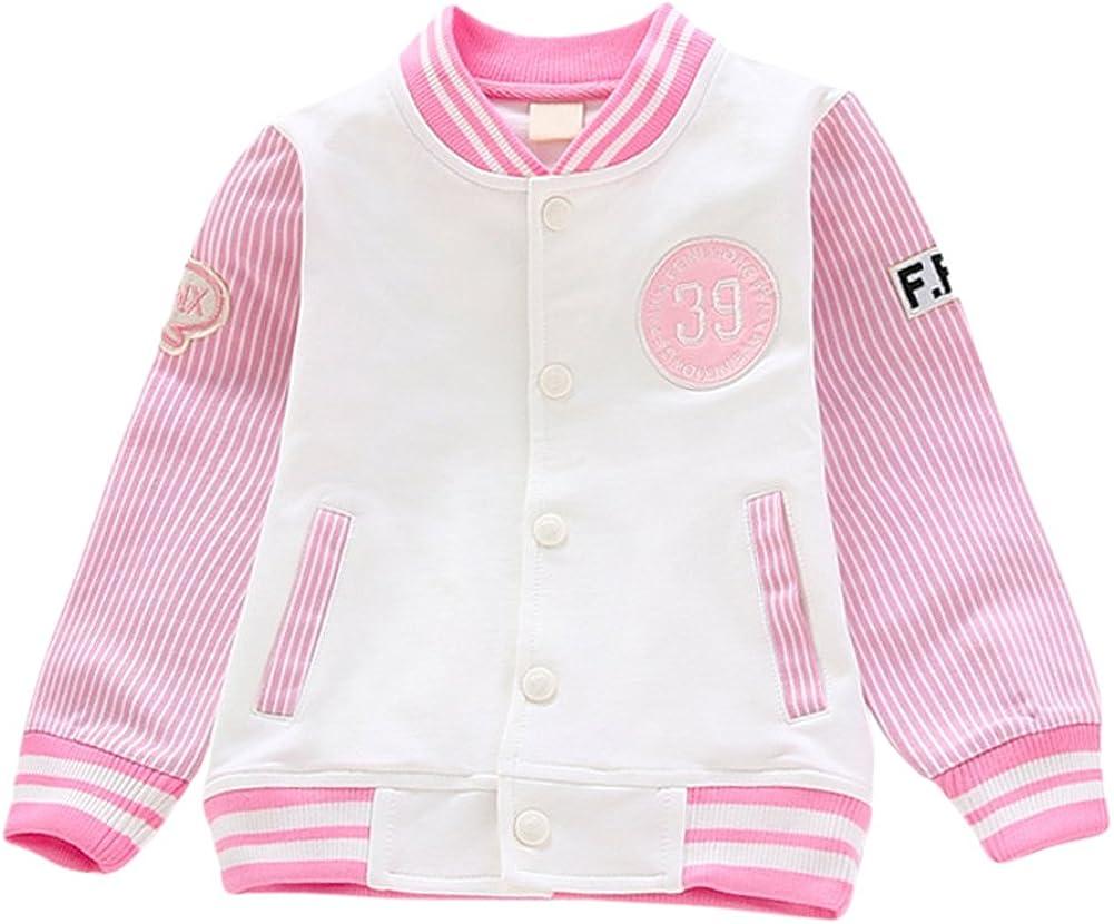 Tortor 1Bacha Kid Little Girls' Number 39 Striped Baseball Bomber Jacket