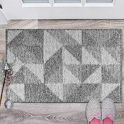 Ordenado Indoor Door Mats with Rubber Backing, Non-Slip Absorbent Front Back Doormat Inside Dirt Mud Trapper Entrance Floor Mat, Machine Washable Low-Profile Rug (Grey: Geometric, 30''x40'')
