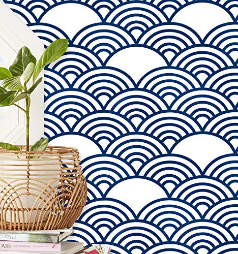 Guvana Trellis Contact Paper Blue White Peel and Stick Wallpaper 78.7'x17.7' Geometric Self Adhesive Wallpaper Upgrade Navy Blue Scallop Pattern Removable Contact Paper for Bathroom Shelf Liner Decor