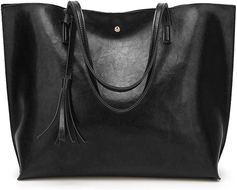 Bloomerang Luxury Quality Brand Handbag Women PU Leather Casual Tote Bag Ladies Tassel Single Shoulder Bag Solid Crossbody Bags Large color Black
