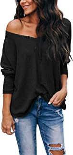 Women's Casual V-Neck Off-Shoulder Batwing Sleeve...