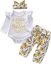 puseky Baby Little Miss Sassy Pants Conjunto de Ropa de Manga Larga con Volantes y Pantalones Florales