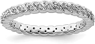 925 Sterling Silver Diamond Band Ring Stackable Fancy Fine Jewelry For Women Gift Set
