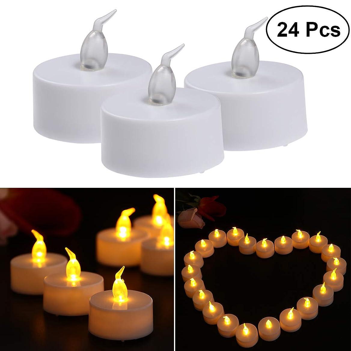 ええ思われる広告するVosarea キャンドル ライト LED キャンドルを点灯 電池で動作 プラスチック 誕生日 祭り 祝賀 3.8×4.2cm 24ピース(黄色のフラッシュライト)