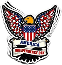 Hanabi 3 Pcs Stickers America Independence Day 4Th of July 1776-2017 4 × 3 Inch Vinyl Die-Cut Decals for Laptop Window