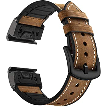 YOOSIDE for Fenix 5 Watch Strap, 22mm Quick Fit Sweatproof Genuine Leather and Silicone Hybrid Watch Band Strap for Garmin Fenix 5/5 Plus/Quatix 5/Forerunner 935,Brown