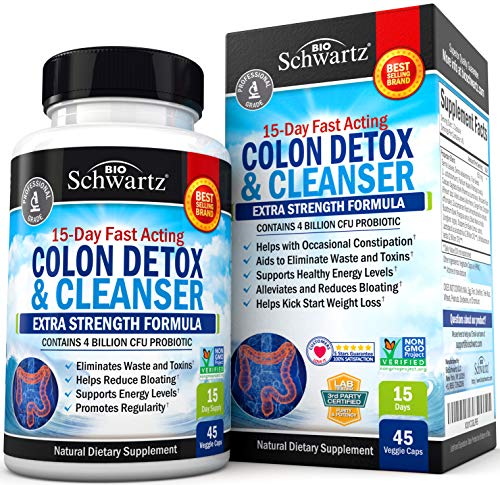 Colon Cleanser & Detox for Weight Loss. 15 Day Extra Strength Detox Cleanse with Probiotic for Constipation Relief. Pure Colon Detox Pills for Men & Women. Flush Toxins, Boost Energy. Safe & Effective