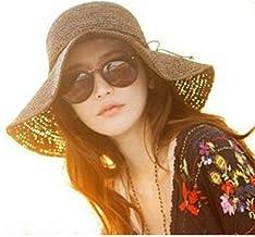 HugeStore Floppy Foldable Wide Brim Chic Sun Hat Sun Visor Summer Beach Straw Hat for Women Ladies