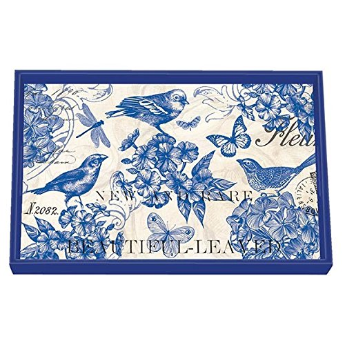 Michel Design Works Grand Plateau décoratif en Bois, Indigo Cotton, Taille M