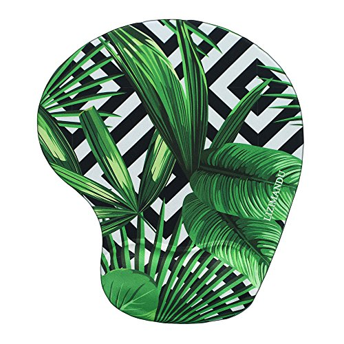 Lizimandu Non Slip Mouse Pad Wrist Rest for Office, Computer, Laptop & Mac - Durable & Comfortable & Lightweight for Easy Typing & Pain Relief-Ergonomic Support(Black Striped Leaves)