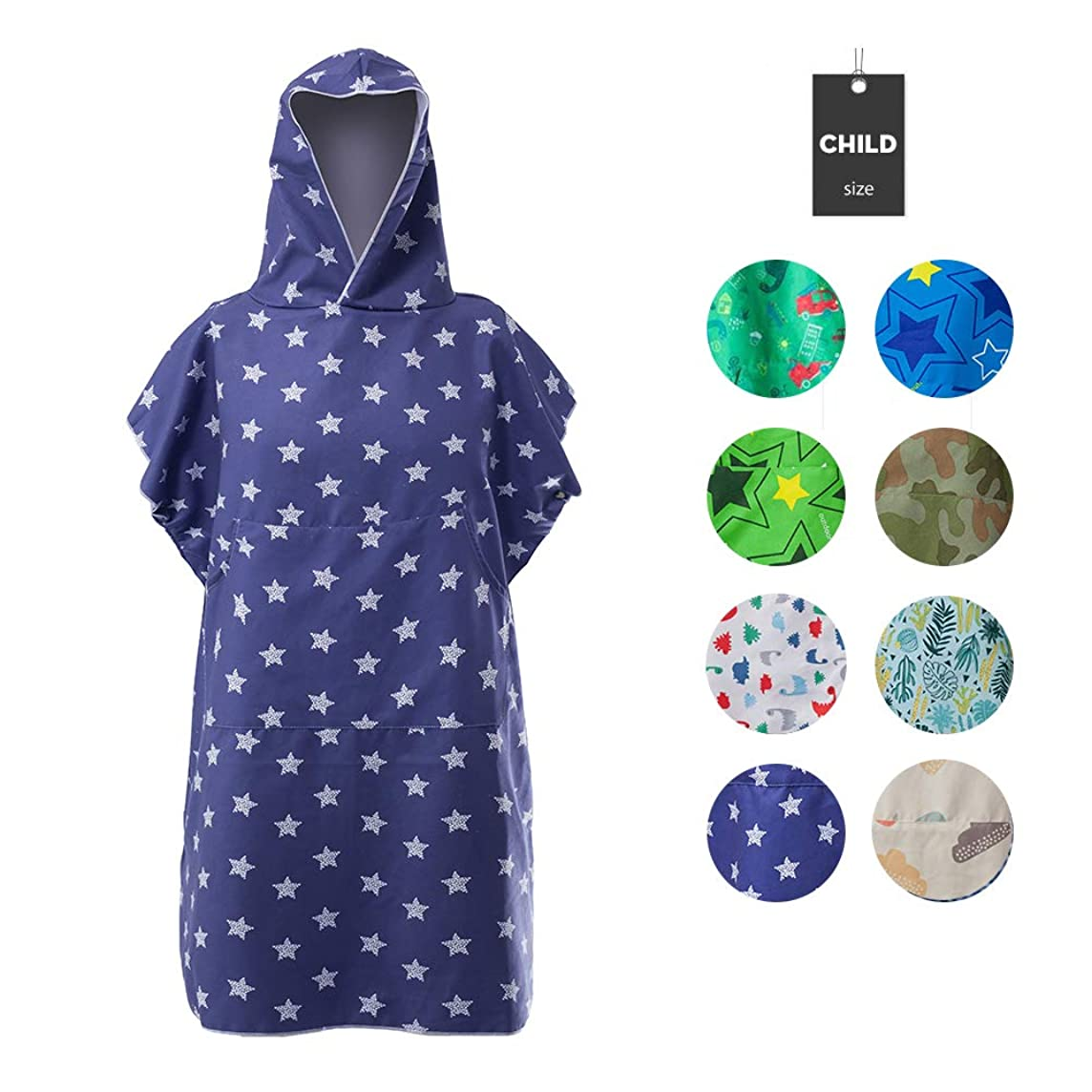 Runpilot Kids Beach Hooded Poncho Changing Bath Robe Towel with Pocket for Swimming Surfing