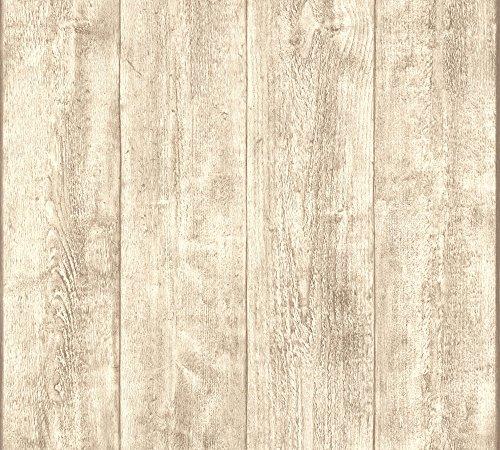 A.S. Création papel pintado Wood`n Stone beige crema blanco 10,05 m x 0,53 m 708830