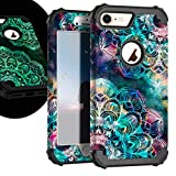 ZHK iPhone 8 Case, iPhone 7 Case for Women Flower,noctilucous 3 Layer Shockproof Heavy Duty Case Girls Anti-Scratch Anti-Slip Bumper Protective Cover for Apple 4.7-inch iPhone 7,8 (Mandala in Galaxy)