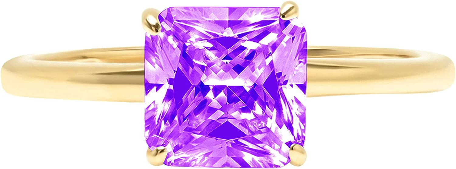 2.4ct Brilliant Asscher Cut Solitaire Natural Purple Amethyst Ideal VVS1 4-Prong Engagement Wedding Bridal Promise Anniversary Ring Solid 14k Yellow Gold for Women
