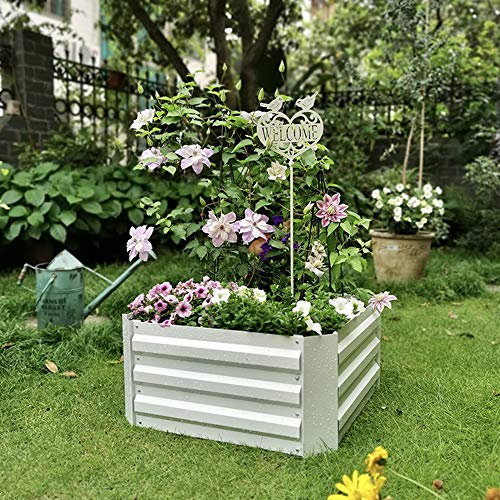 Galvanized Planter, Metal Raised Garden Bed Kit, Elevated Flower Boxes, Square Steel Planter Box, Vegetable Flower Bed Kit Bottomless, 23.6'x 23.6' x 11.8',White