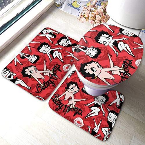 LAURE Betty Boop Alfombrillas de baño Antideslizante Absorbente Juego de Alfombrillas de baño de 3 Piezas, Alfombrilla de baño Alfombra de Contorno Cubierta de la Tapa