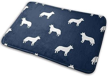 Australian Cattle Dog Pet Quilt B Cheater Quilt Silhouette Coordinate_23612 Doormat Entrance Mat Floor Mat Rug Indoor/Outdoor