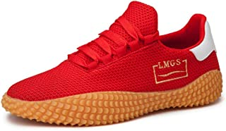 No.66 TOWN Men's Fashion Flying Weaving Mesh Lace Up Athletic Casual Flyknit Sneakers Sports Walking Shoes Size 11 Red