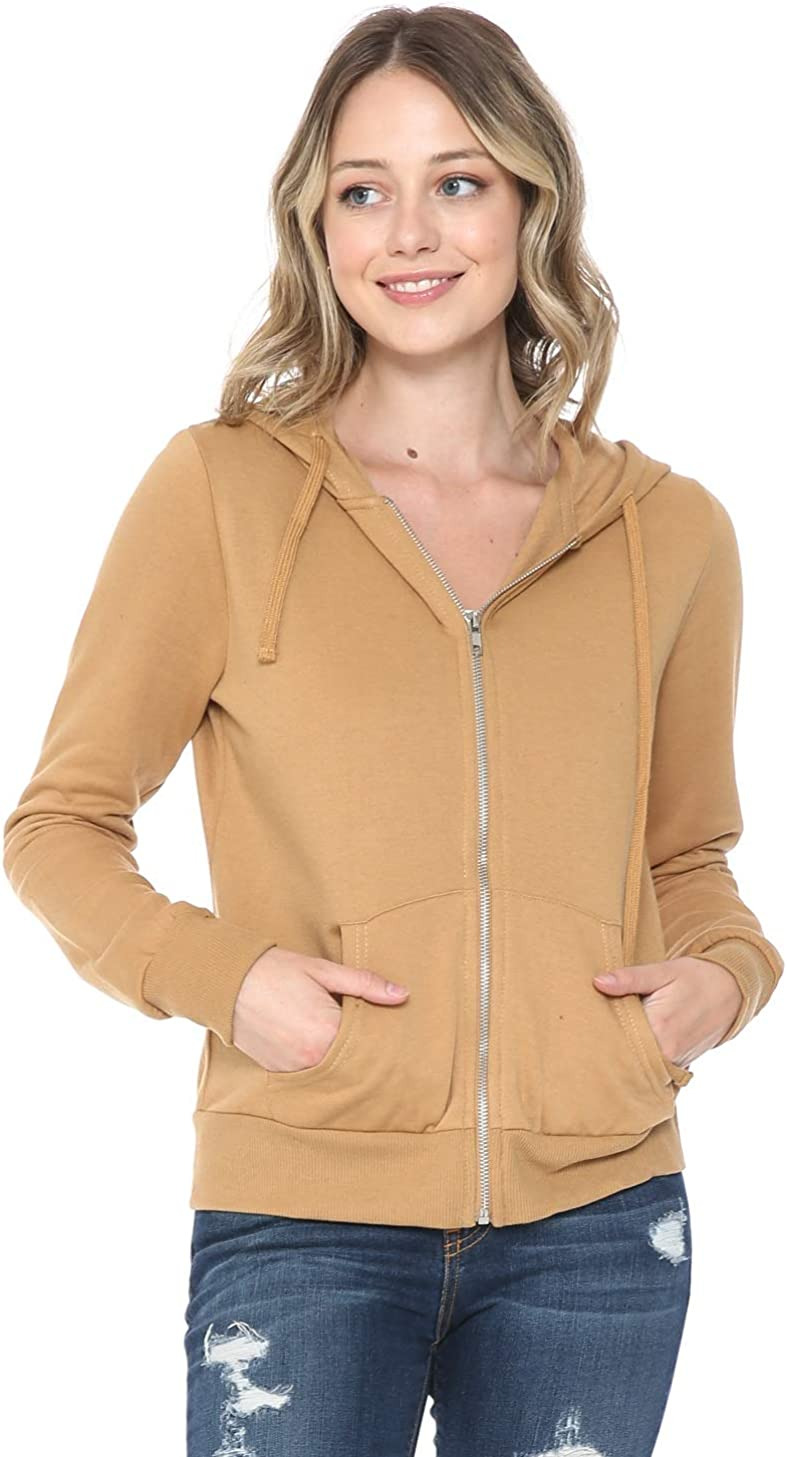 YourStyle USA Women's Hoodie Jacket – Casual Full Zip Up Fleece French Terry Long Sleeve Active Zipper Hooded Sweater
