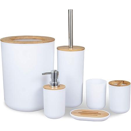 MisFox Juego de 6 Piezas Accesorios de Baño de Bambú con Dispensador de Jabón, Cubo de Basura, Vaso para cepillo de dientes, Soporte para cepillo de dientes, Jabonera y Escobilla para inodoro - Blanco
