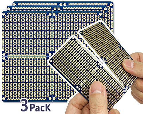 ElectroCookie Snappable PCB, Strip Board with Power Rails for Arduino and Electronics, Gold-Plated, 3.8'x3.5' (3 Pack, Blue)