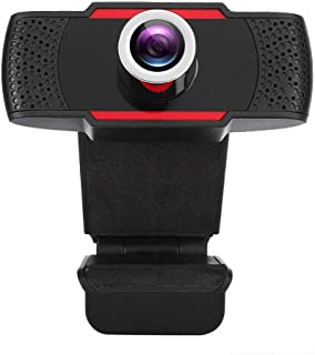1080P USB Webcam, 1920 x 1080 HD Video Call Laptop Computer Camera Built-in Noise-cancelling Microphone, 30° Rotatable Pro Streaming Computer Camera for Recording, Conferencing, Gaming(Black+Red)