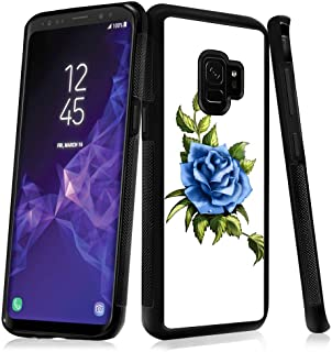 Case for Samsung Galaxy S9 case Blue Rose Flower Slim Soft and Hard Tire Shockproof Protective Phone Cover Case Slim Hybrid Shockproof Protective Case Anti-Scratch Cushion Bumper with Reinforced Corne